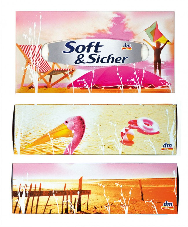 Sommerliches Design für dm | Taschentücherbox. Im Auftrag von Klis Design.