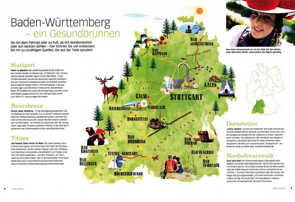 Karte für Zeitschrift »Vital« Wellness Orte in Baden-Württemberg