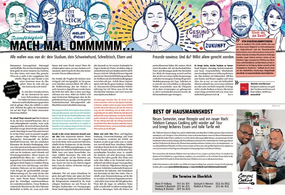 Illustration für Studentenzeitschrift »Zeit für mich«
