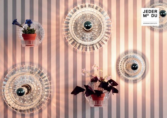 Serie ERIKA Leuchtobjekte/Blumenampeln: Design jeder-qm-du.de Tapete: CMYK N°2, über extratapete, Design Christin a Mehlhose