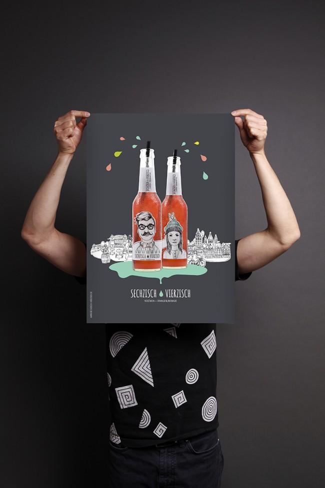 Poster | Kunde: Sechzisch Vierzisch (Geschäftsinhaber: Patrick Lohmann) | Umsetzung: AiLaike Natural Beverages in Kooperation mit Mathilda Mutant