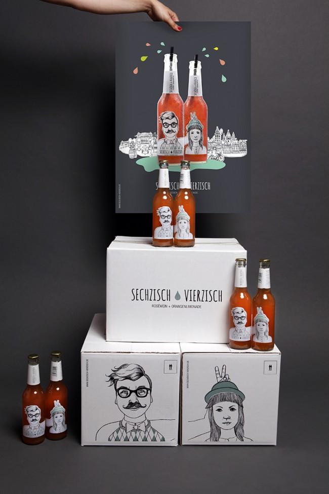 Poster mit Kisten | Kunde: Sechzisch Vierzisch (Geschäftsinhaber: Patrick Lohmann) | Umsetzung: AiLaike Natural Beverages in Kooperation mit Mathilda Mutant