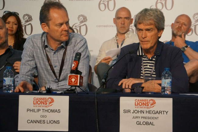 Philip Thomas, CEO Cannes Lions und Sir John Hegarty, Jury President Global
