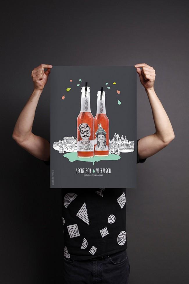 Corporate Design + Illustrationen für »Sechzisch Vierzisch« | Umsetzung: AiLaike Natural Beverages in Kooperation mit Mathilda Mutant