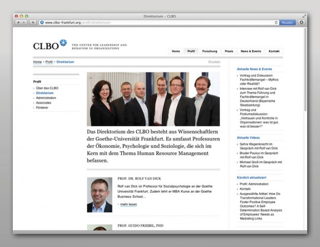 Website für CLBO – The Center for Leadership and Behavior in Organizations