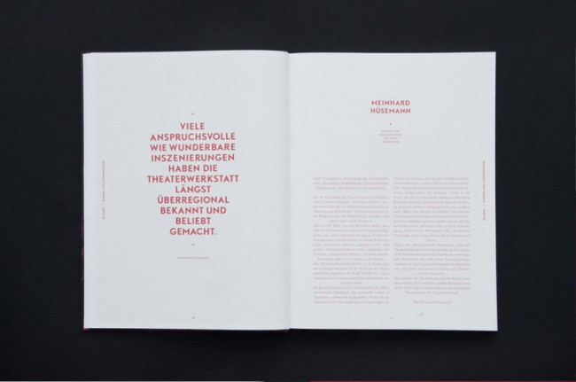 In Anlehnung an das Logo werden Personen, Stücke und Projekte der Theaterwerkstatt in einem zweifarbigen, wechselnden System vorgestellt