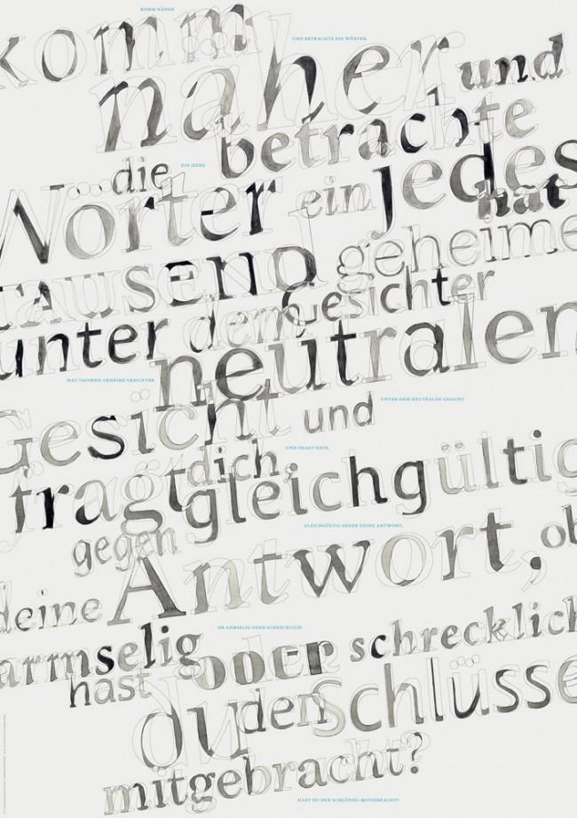 Typografische Plakatreihe zu literarischen Texten mit dem übergeordneten Thema Lesen und Bücher. Für dieses Plakat habe ich ein Zitat von Carlos Drummond de Andrade aus »Auf der Suche nach der Poesie« verwendet.