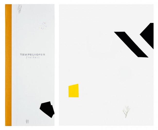 »Tempelhofer Freiheit«: eine illustrative Reportage über den ehemaligen Flughafen Tempelhof im Winter. Material: bunte Papiere, Tuschestift, Bleistift