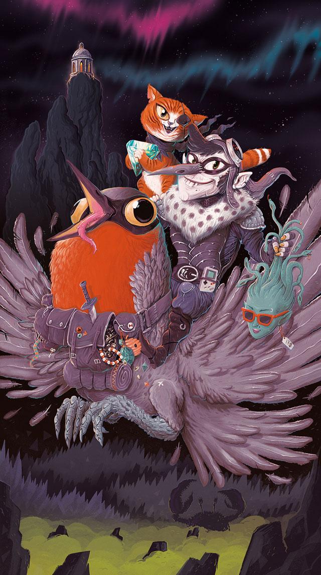 Furunkel – Illustration für ein Fantasy-Kartendeck, Galerie Light Grey Art Lab (Minneapolis, USA). 2013