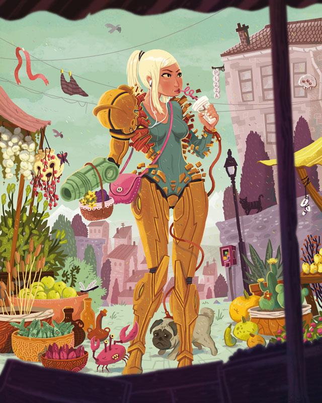 Samus Aran – Illustration für die Austellung »Girls - Fact or Fiction« Galerie Light Grey Art Lab (Minneapolis, USA). 2012
