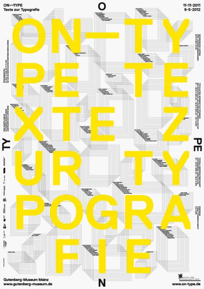 Plakat für die Ausstellung »ON–TYPE: Texte zur Typografie« (aktuell im Bauhaus-Archiv Berlin)