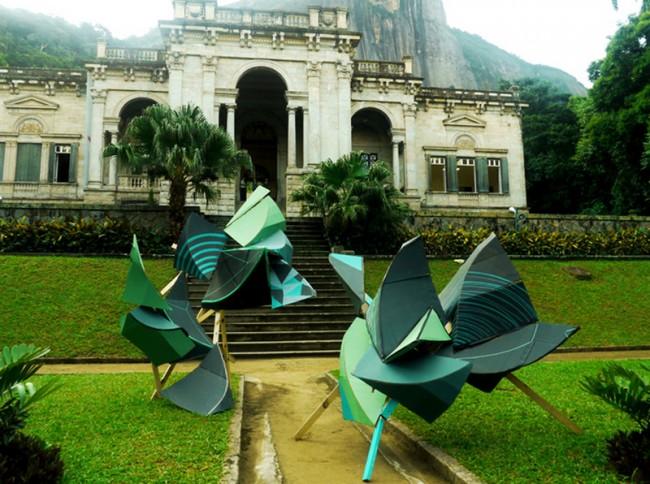 Installation for Rojo Nova Festival, Rio de Janeiro/ Sao Paolo 2011, cardboard, wood, tape and paint