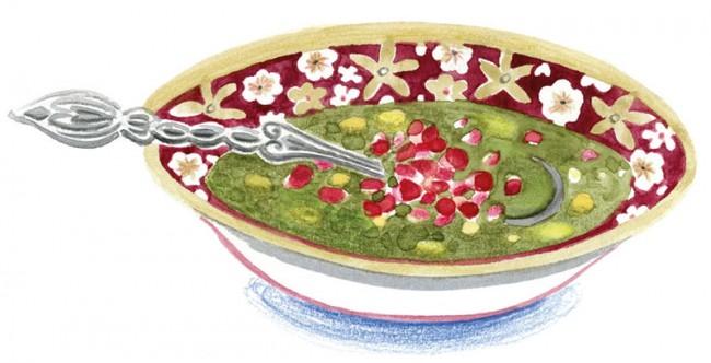 Granatapfelsuppe Asch-e Anar | Gabi Kopp, Das persische Kochbuch, Verlag Jacoby & Stuart