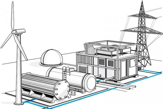 Zukunft und Innovation, Logistik- Transportwesen, Editorial - Infografik / Hybridkraftwerk