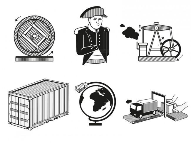 Der Blick nach vorn; Dinge, die die Logistik verändert haben, Editorial – Icons