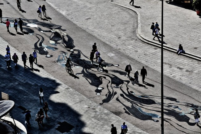 Herbert Baglione Frankfurt am Main, 2013 Bodenfläche der Frankfurter Hauptwache © Schirn Kunsthalle Frankfurt 2013, Foto: Norbert Miguletz