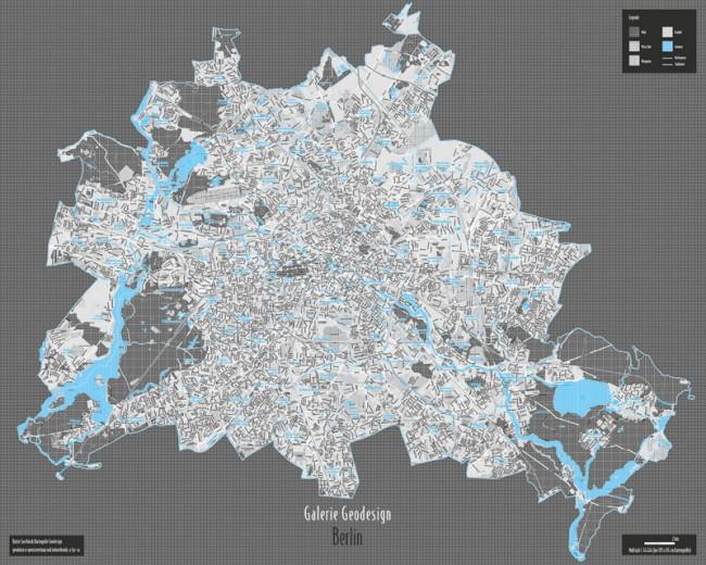 Die Galerie Geodesign präsentiert mit reduzierten Farben und den eingesetzten Texturen Stadtpläne auf neue Art. Der Berlin-Plan in 105 x 84 cm Kartengröße ist dabei der Auftakt dieser Kartenreihe (Geodaten©openstreetmap und mitwirkende, cc by-sa)