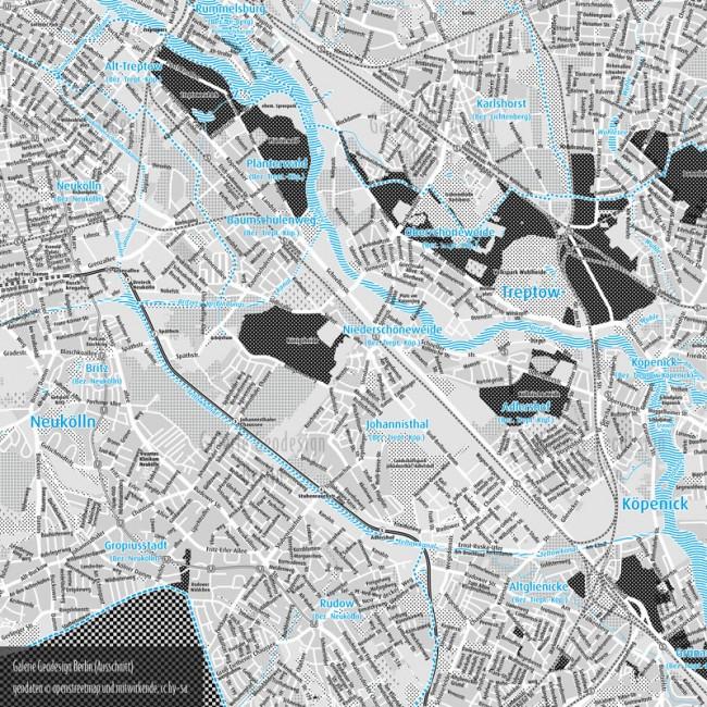 Galerie Geodesign, Ausschnitt des Berlin-Stadtplans aus der Kartenreihe (Geodaten©openstreetmap und mitwirkende, cc by-sa)