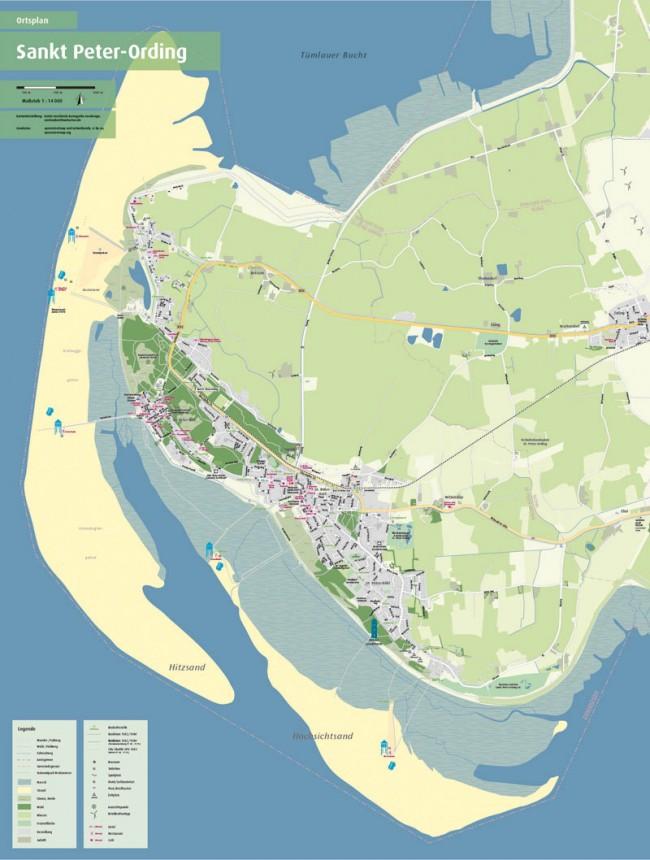 Faltkarte von Sankt Peter-Ording in DIN-A-1-Größe. Freie kartografische Arbeit, die im Urlaub persönlich getestet und geprüft wurde. (Geodaten©openstreetmap und mitwirkende, cc by-sa)