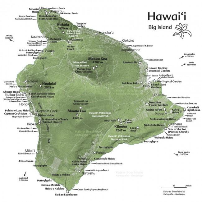 Touristische Hawaii-Karte in 3-D-Optik, hergestellt mit SRTM- und OpenStreetMap-Daten. Freie kartografische Arbeit.