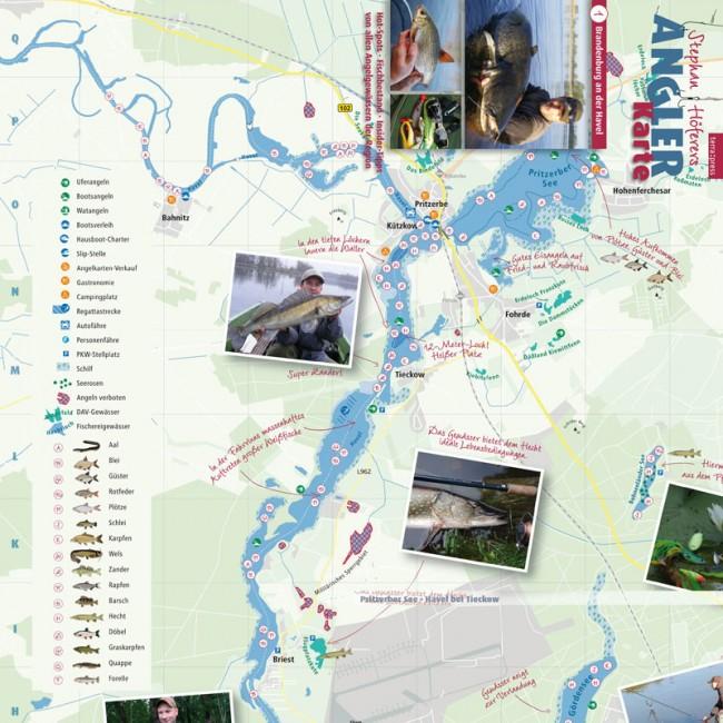 Angler-Karte (Ausschnitt), Faltkarte mit Informationen für Angler im Raum Brandenburg an der Havel. Zusammenarbeit mit Terrapress GmbH und Angelprofi Stephan Höferer. Auftakt einer Kartenreihe.