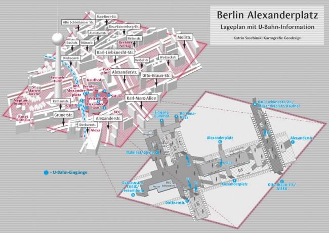3-D-Karte des Berliner Alexanderplatz und Umgebung mit U-Bahn-Ebene