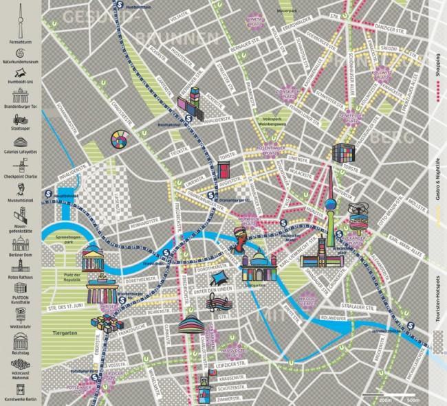 illustrierte Karte von Berlin-Mitte. Spiel mit Texturen und Farben. Freie Arbeit.