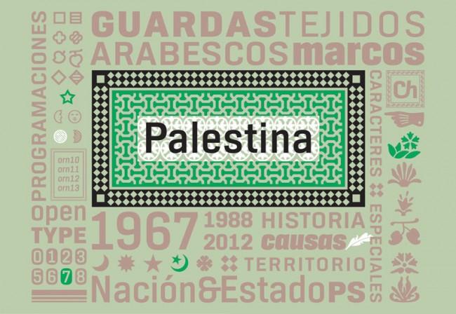 Sein Markenzeichen, die ch-Ligatur, findet sich im Font Palästina sogar in den Versalien. In der OpenType-Version ist die neutrale Sans Serif, hier auch in einer Branding-Anwendung zu sehen, durch arabeske Muster ergänzt
