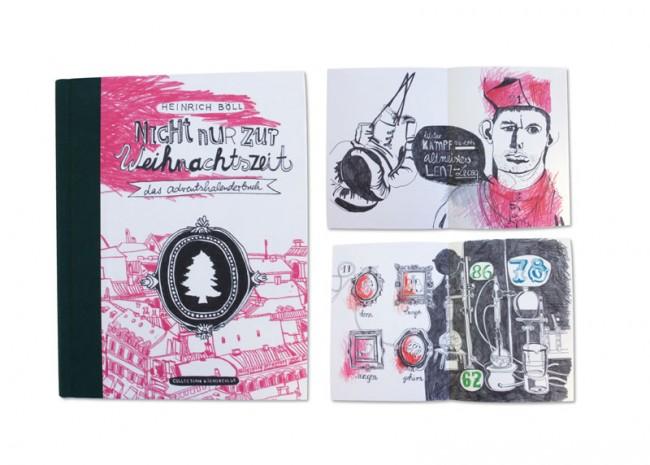 Adventskalenderbuch »Nicht nur zur Weihnachtszeit«, Collection Büchergilde, 2013: Cover und Innenseiten