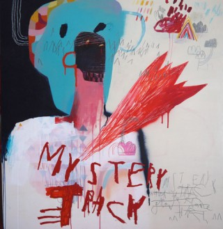 Denny Gretscher, Mystery Track, acrylic, spraypaint, pencil, oilstick on wood, 103 x 107 cm, 2013