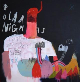Denny Gretscher, Polar Nights, acrylic, spraypaint, pencil, oilstick on wood, 103 x 107 cm, 2013