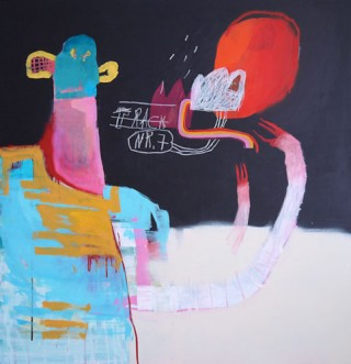 Denny Gretscher, Track Nr 7, acrylic, spraypaint, pencil on wood, 103 x 107 cm, 2013