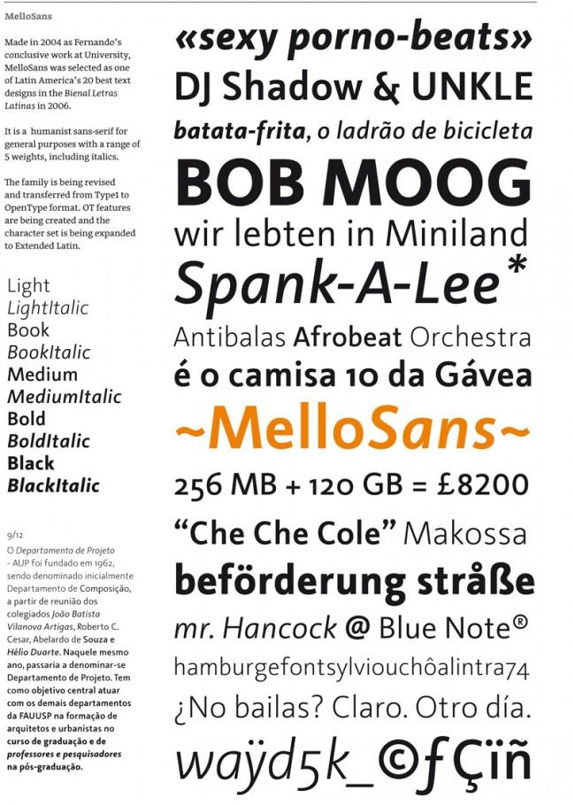 Für ein paar Jahre war Mello in London hängen geblieben, wo er bei der Foundry Fontsmith Logos, Letterings und Kundenschriften entwarf. Gegenwärtig studiert er wieder in der Expert Class Type Design am Plantin Instituut voor Typografie in Antwerpen. Neue Schriften sind in Arbeit!