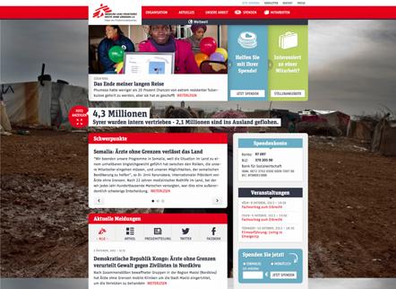 Bild Aerzte ohne Grenzen Webseite