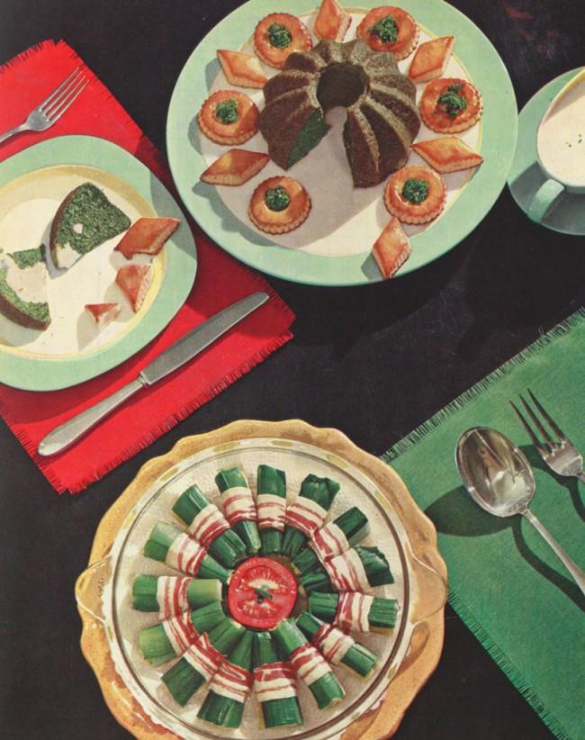 Spinatpudding und gefüllte Lauchröllchen mit Speck