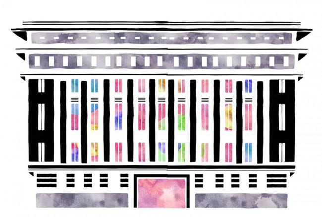 Berlin-Wahrzeichen, illustriert für valise
