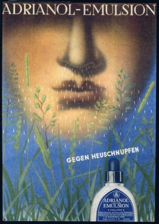 Künstler: Bayer, Herbert | Titel: Reklame für Adrianol‐Emulsion gegen Heuschnupfen | Datierung: 1934 | Material/Technik: Vierfarbendruck | Bildnachweis: Bauhaus‐Archiv Berlin