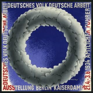 Künstler: Herbert Bayer | Titel: Titelblatt »Amtlicher Führer Deutsches Volk Deutsche Arbeit« der Ausstellung »Deutsches Volk Deutsche Arbeit« | Datierung: 1934 | Material/Technik: Offsetdruck in drei Farben | Bildnachweis: Bauhaus‐Archiv Berlin