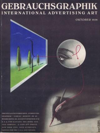 Künstler: Herbert Bayer | Titel: Titelblatt »Gebrauchsgraphik« Oktober 1938 | Datierung: 1938 | Material/Technik: Vierfarbendruck | Bildnachweis: Bauhaus‐Archiv Berlin