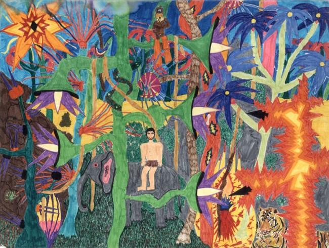 Katja Strunz (*1970), o. T. (Urwald), ca. 12 Jahre, Bleistift, Filzstift auf Papier, 29,7 x 39,5 cm (DIN A3), Rückseitig signiert »Katja Strunz Kl. 7a«, Courtesy Katja Strunz
