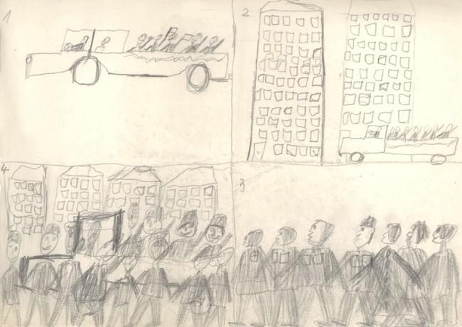 Norbert Bisky (*1970), o.T. (Parade), 1978 (8 Jahre), Bleistift auf Papier, 21 x 29,7 cm, Rückseitig signiert »Norbert Bisky Kl. 2b)«, Courtesy Norbert Bisky, Copyright VG Bild-Kunst, Bonn