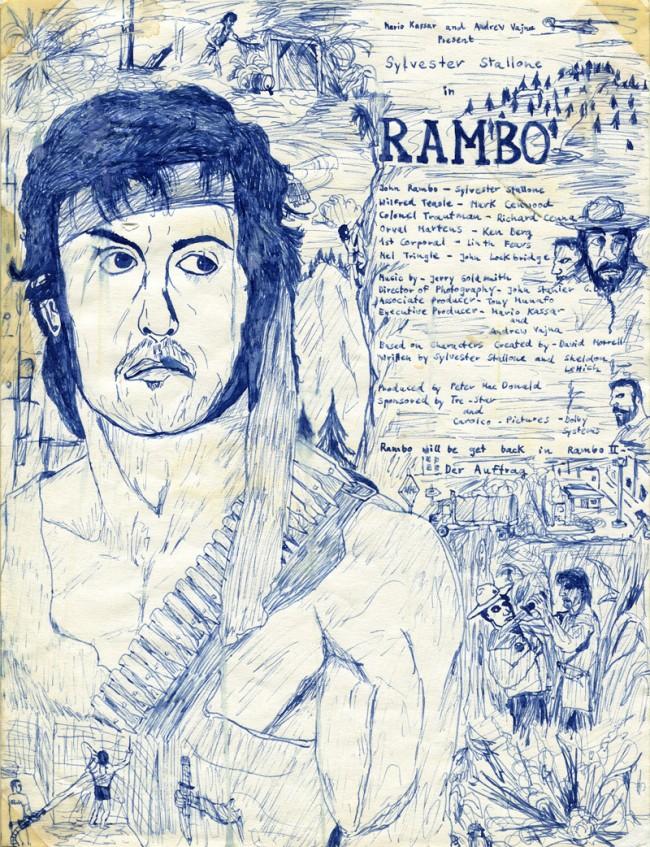 Ralf Ziervogel (*1975), D, Rambo I, 1987, 12 Jahre, blaue Füllertinte auf Papier, 27,5 cm x 21 cm, Courtesy Ralf Ziervogel, Copyright VG Bild-Kunst, Bonn, 2013
