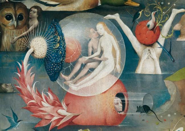 Der Garten der Lüste, um 1503 Mitteltafel: Menschheit vor der Sintflut (Detail) Madrid, Museo Nacional del Prado