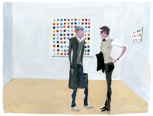 Opening at Gagosian, 2010 | Jean-Philippe Delhomme, Personal work, The Unknown Hipster, book; gouache