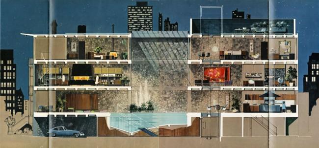 Das Playboy Townhouse | Architekt: R. Donald Jaye, Zeichnung: Humen Tan, Playboy, Mai, 1962, S. 84–87