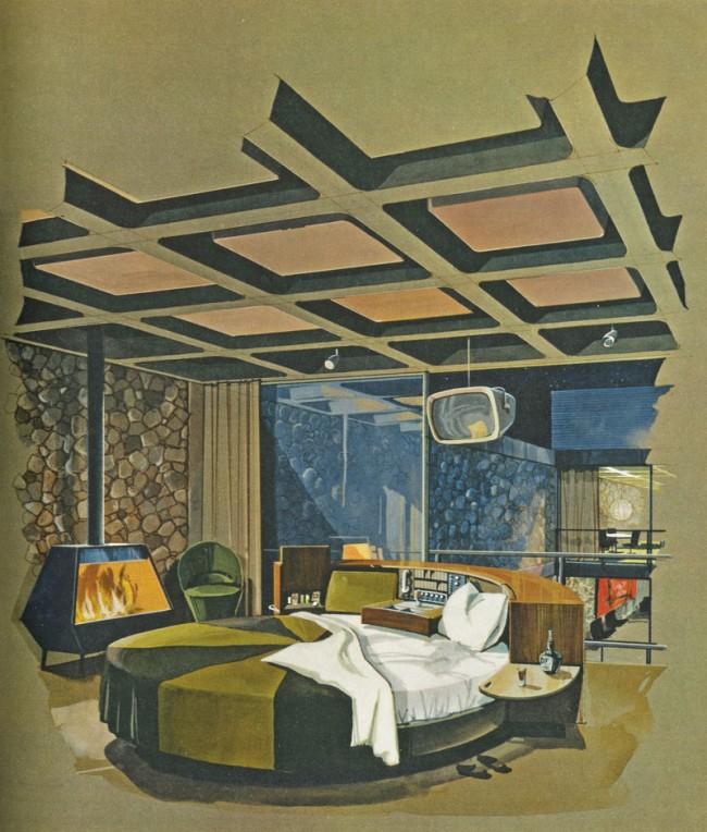 Master Bedroom im Playboy Townhouse | Architekt: R. Donald Jaye, Zeichnung: Humen Tan, Maiausgabe Playboy 1962