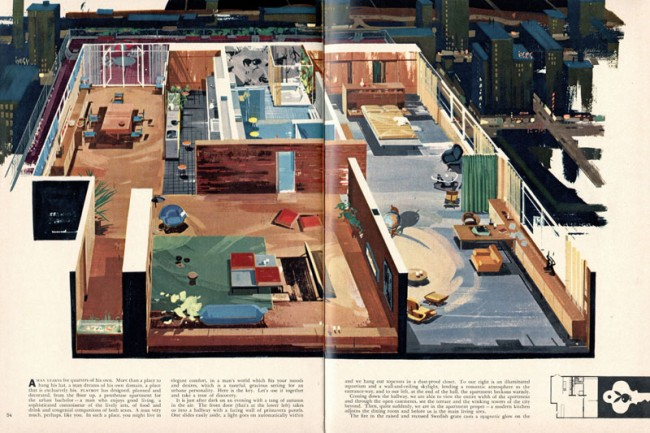 Penthouse Wohnung des Playboys | James E. Tucker, Designer | Vogelperspektive, Playboy, September 1956