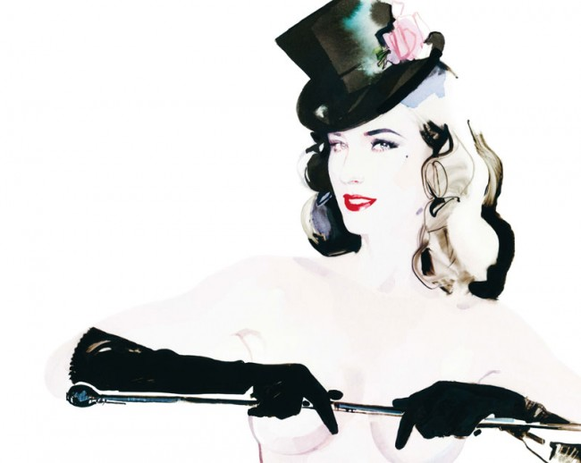 Dita von Tease in A MAGAZINE CURATED BY STEPHEN JONES - illustrated by David Downton