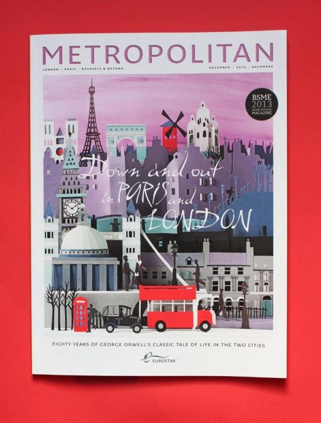 Für das Magazin »Metropolitan« gestaltete Helen Musselwhite ein Papiermodell, das Paris und London verbindet