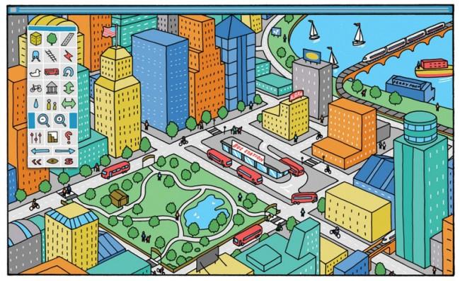 SimCity-Illustration von Adam Hayes für »Fast Company«